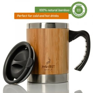 Stainless Steel and Bamboo Insulated Coffee Mug. 13.5 ounce.