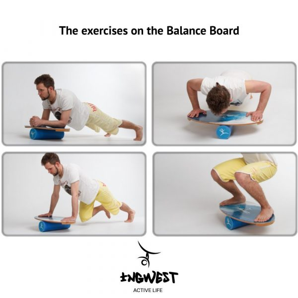 Wooden Balance Board Trainer with Roller. Blue Sphere Design. 15.7x27.5 in.