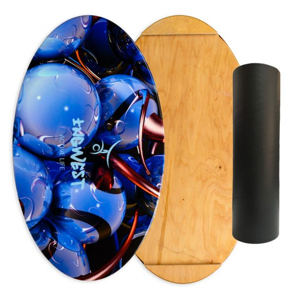 Wooden Balance Board Trainer with Rubberized Anti-Slip Roller. Blue Sphere Design. 27.5 x 15.7 in.