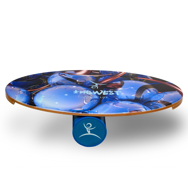 Balance Board With Roller: Wooden Balance Board Trainer With Roller. Blue Sphere