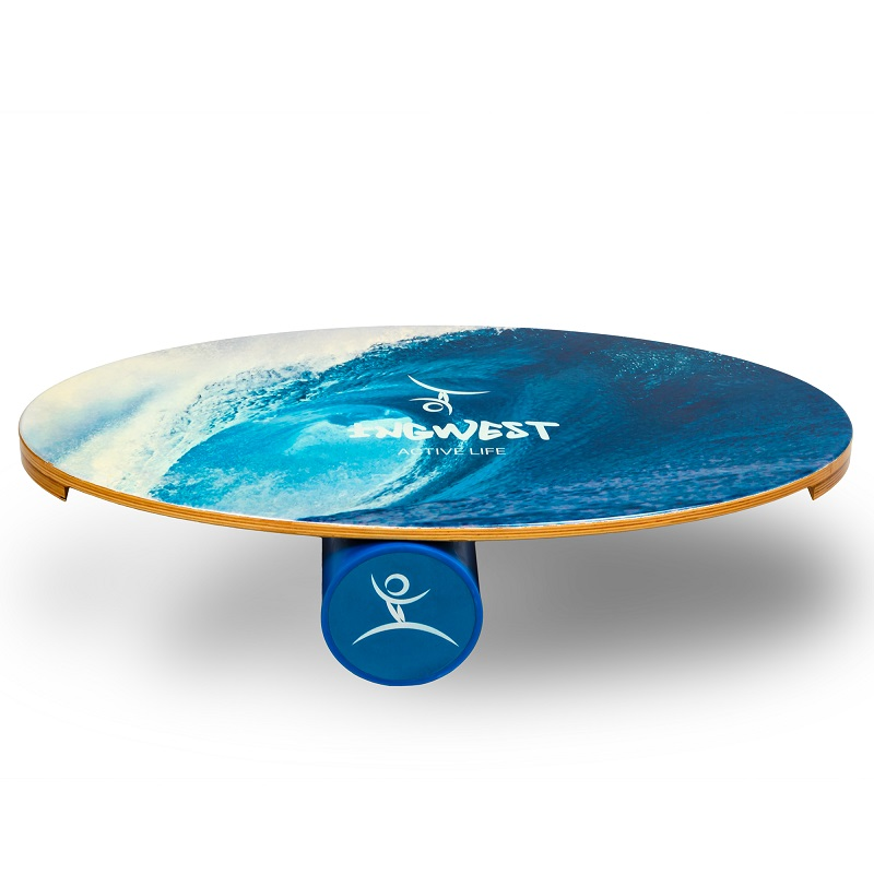 Balance Board Exercises For Surfing: Wooden Balance Board Trainer With Roller. Wave Design. 15