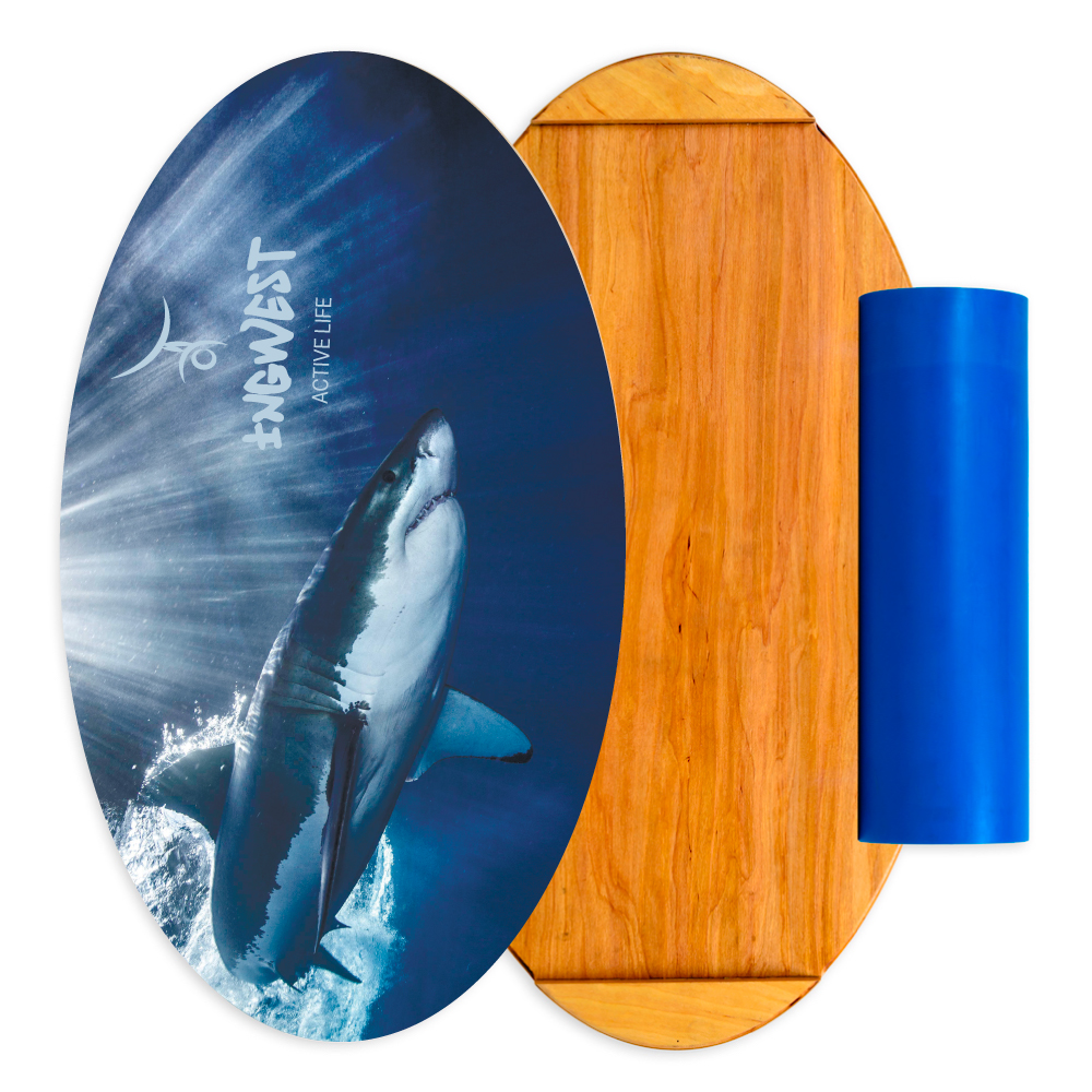 Balance Board With Roller: Wooden Balance Board Trainer With Roller. Shark Design. 15