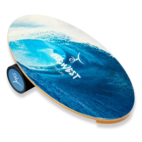 Wooden Balance Board Trainer with Rubberized Anti-Slip Roller. Wave Design. 27.5 x 15.7 in.