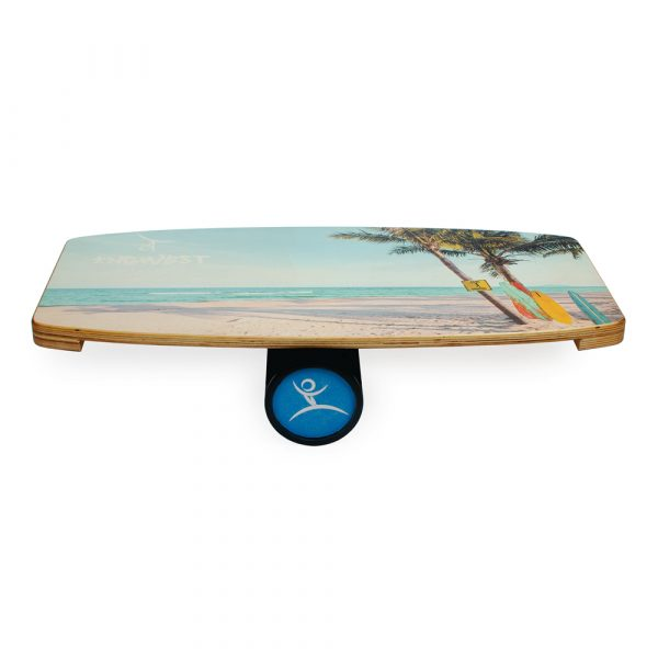 Wooden Balance Board Trainer with Rubberized Anti-Slip Roller. Serfing Design. 27.5 x 13.7 in.