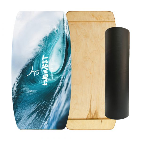 Wooden Balance Board Trainer with Rubberized Anti-Slip Roller. Big Wave Design. 27.5 x 13.7 in.