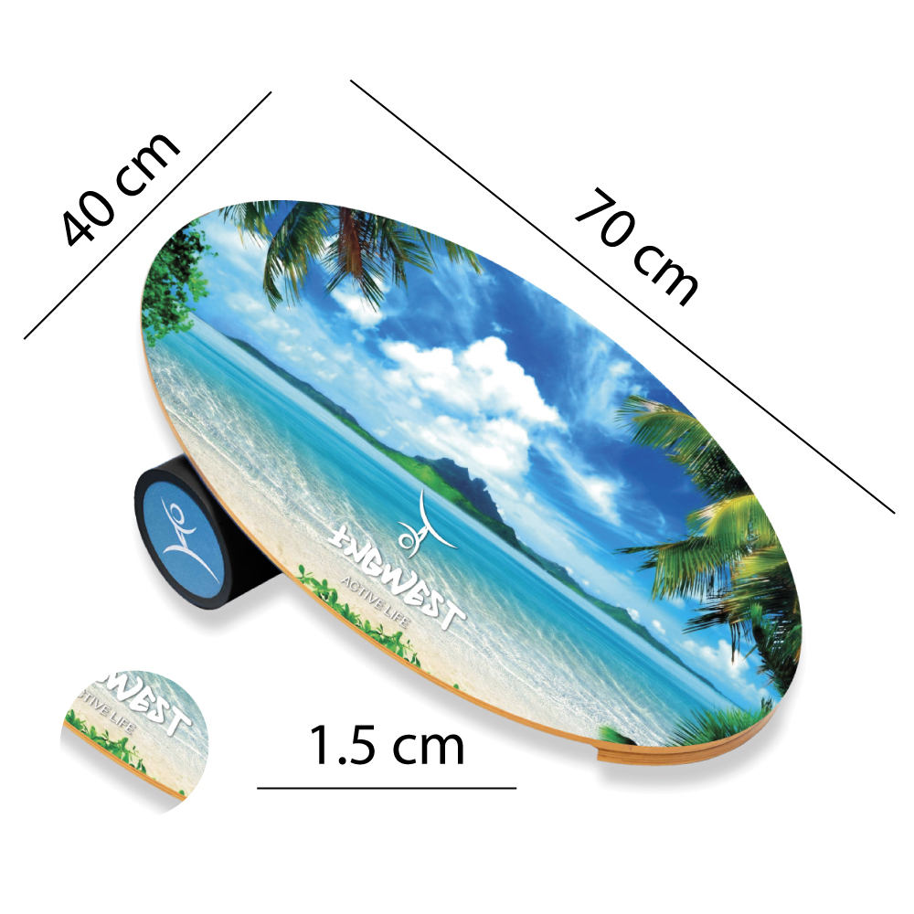 Wooden Balance Board Trainer with Rubberized Anti-Slip Roller. Island Design. 27.5 x 15.7 in.