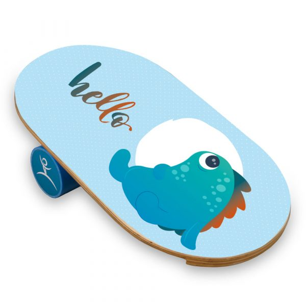 Wooden Balance Board Trainer with Roller For Kids. Hello Design.