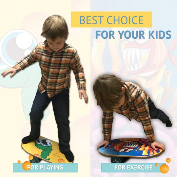 Wooden Balance Board Trainer with Roller For Kids. Sea Star Design.