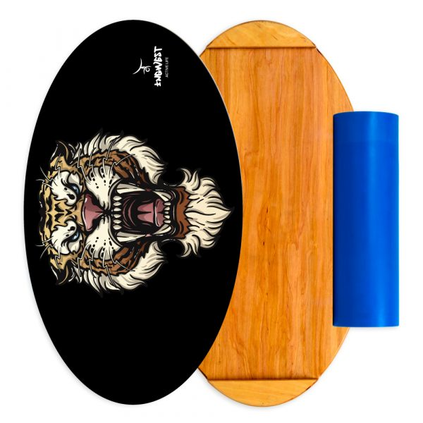 Wooden Balance Board Trainer with Roller. Wild Heart Design. 15.7 x 27.5 in.