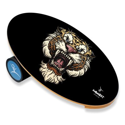 Wooden Balance Board Trainer with Rubberized Anti-Slip Roller. Wild Heart Design. 27.5 x 15.7 in.