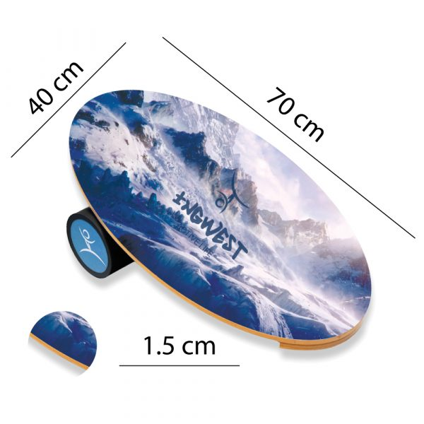 Wooden Balance Board Trainer with Rubberized Anti-Slip Roller. Mountains Design. 27.5 x 15.7 in.