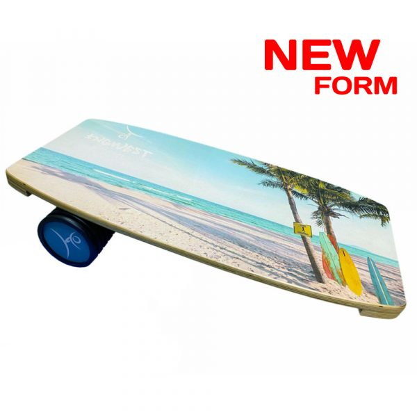 Wooden Balance Board Trainer with Roller. Serfing Design. 13.7 x 27.5 in.