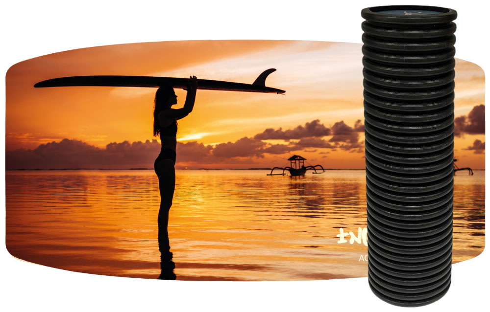 Wooden Balance Board Trainer with Roller. Sunset Design. 13.7 x 27.5 in.