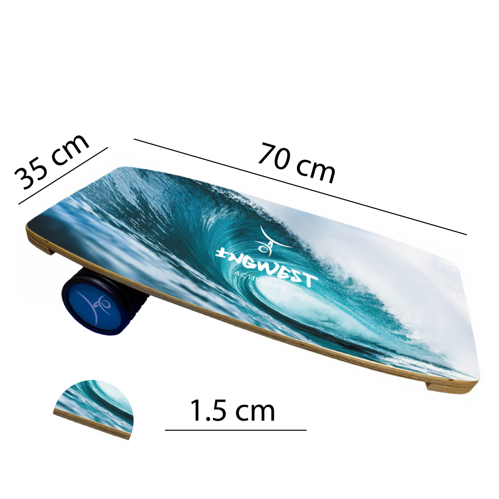 Wooden Balance Board Trainer with Roller. Big Wave Design. 13.7 x 27.5 in.