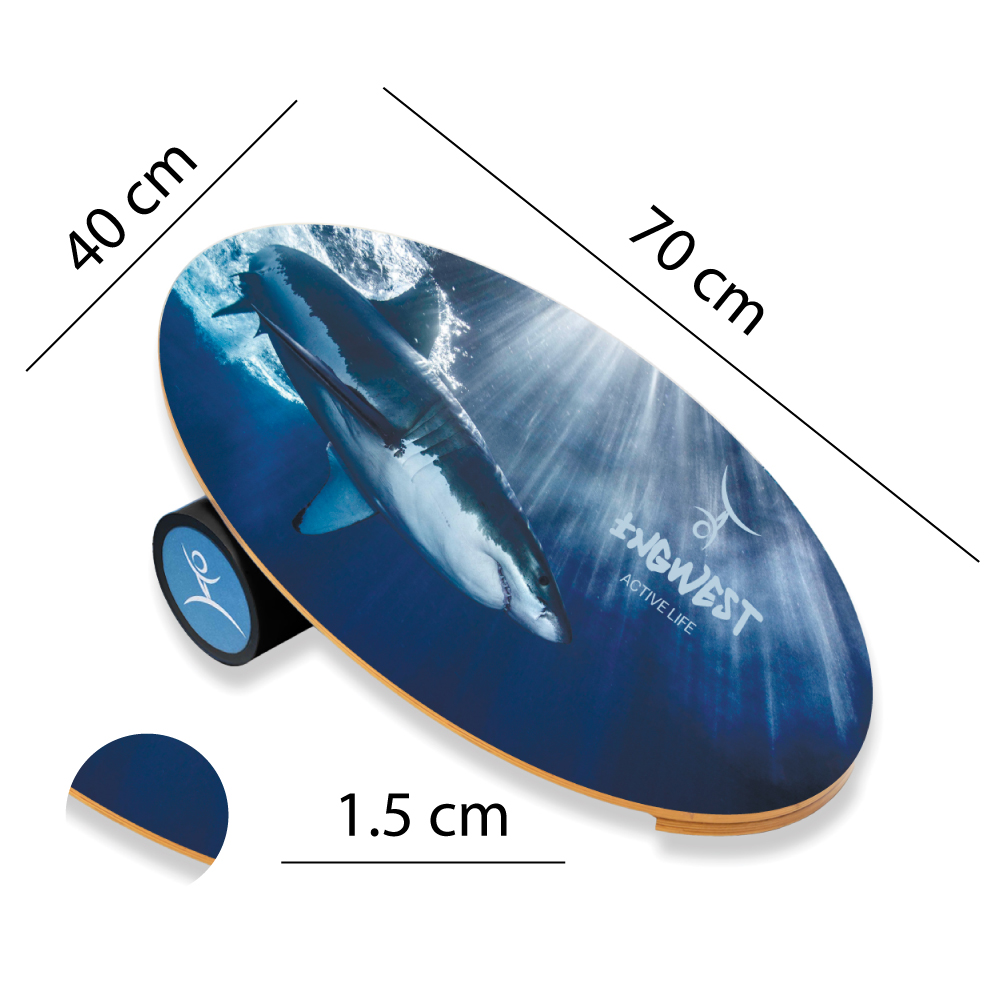Wooden Balance Board Trainer with Rubberized Anti-Slip Roller. Shark Design. 27.5 x 15.7 in.
