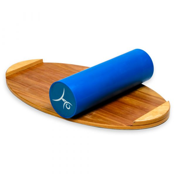Wooden Balance Board Trainer with Roller. Tongue Design. 15.7 x 27.5 in.