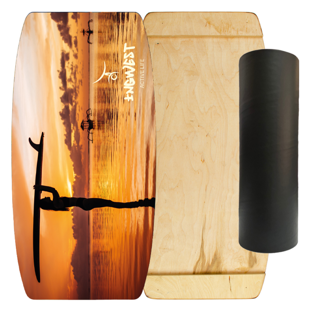 Wooden Balance Board Trainer with Rubberized Anti-Slip Roller. Sunset Design. 27.5 x 13.7 in.