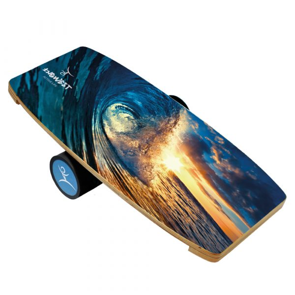 Wooden Balance Board Trainer with Rubberized Anti-Slip Roller. Wave-At-Sunset Design. 27.5 x 13.7 in.