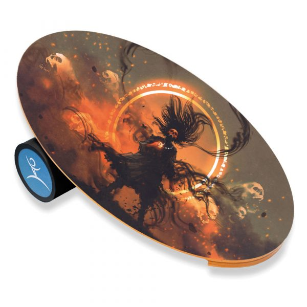 Wooden Balance Board Trainer with Rubberized Anti-Slip Roller. Lord of Darkness Design. 27.5 x 15.7 in.