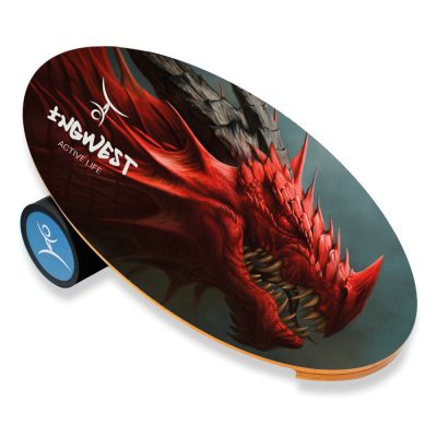 Wooden Balance Board Trainer with Rubberized Anti-Slip Roller. Red Dragon Design. 27.5 x 15.7 in.