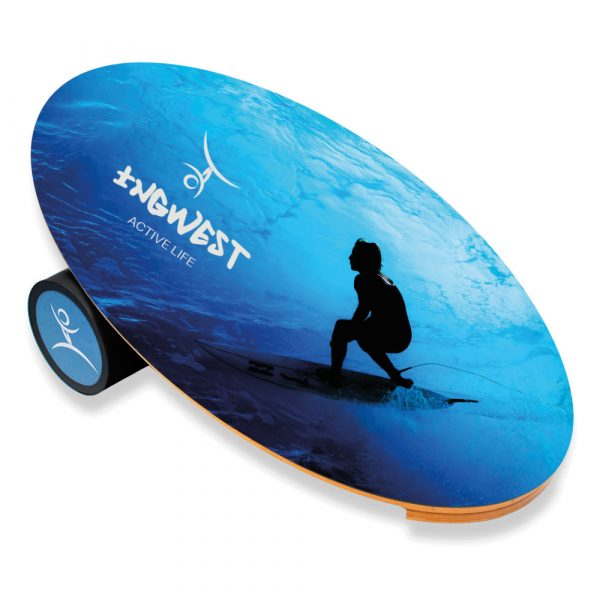 Wooden Balance Board Trainer with Rubberized Anti-Slip Roller. Surfer Design. 27.5 x 15.7 in.