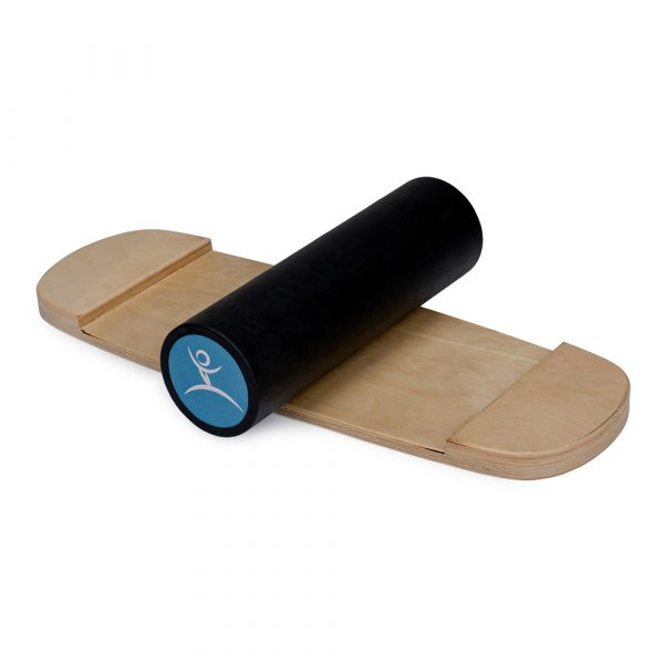 Wooden Balance Board Trainer with Rubberized Anti-Slip Roller. W.A.S. Design. 27.5 x 9.8 in.