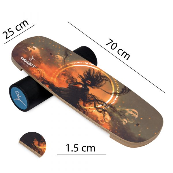 Wooden Balance Board Trainer with Rubberized Anti-Slip Roller. Lord Design. 27.5 x 9.8 in.