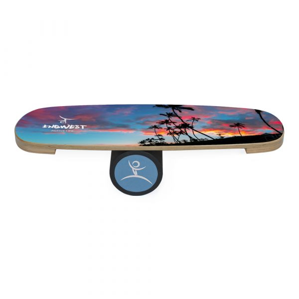 Wooden Balance Board Trainer with Rubberized Anti-Slip Roller. Palm Design. 27.5 x 9.8 in.