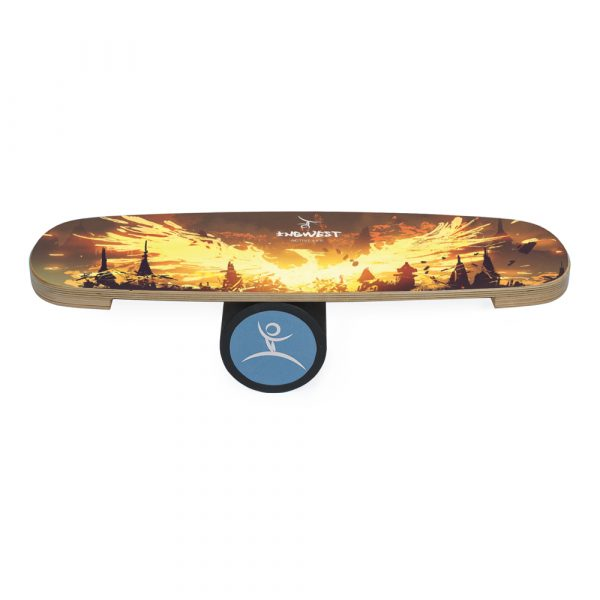 Wooden Balance Board Trainer with Rubberized Anti-Slip Roller. Phoenix Mini Design. 27.5 x 9.8 in.