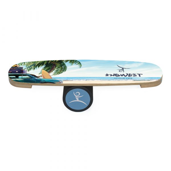 Wooden Balance Board Trainer with Rubberized Anti-Slip Roller. Retro beach Design. 27.5 x 9.8 in.