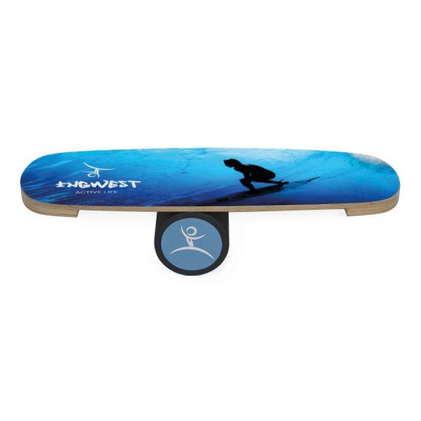 Wooden Balance Board Trainer with Rubberized Anti-Slip Roller. Surfer Mini Design. 27.5 x 9.8 in.