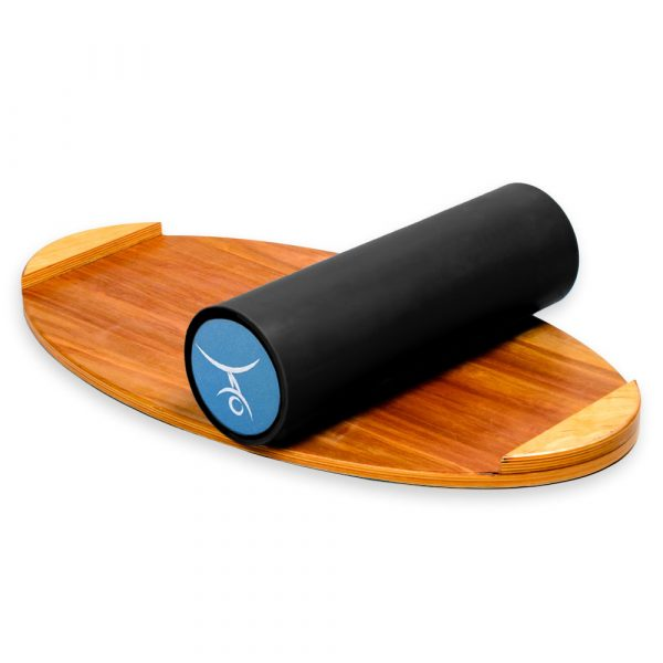 Wooden Balance Board Trainer with Rubberized Anti-Slip Roller. Wave at Sunset Design. 27.5 x 15.7 in.