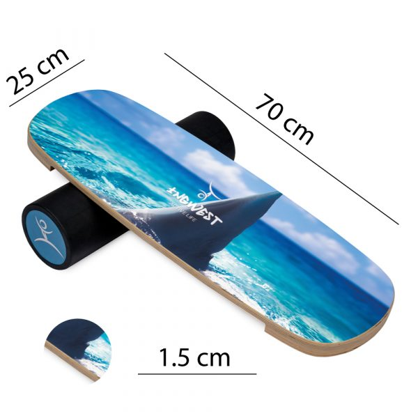 Wooden Balance Board Trainer with Rubberized Anti-Slip Roller. Shark Fin Design. 27.5 x 9.8 in.